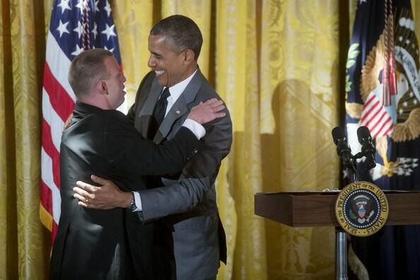 Obama gets a Special Olympian hug  blog image